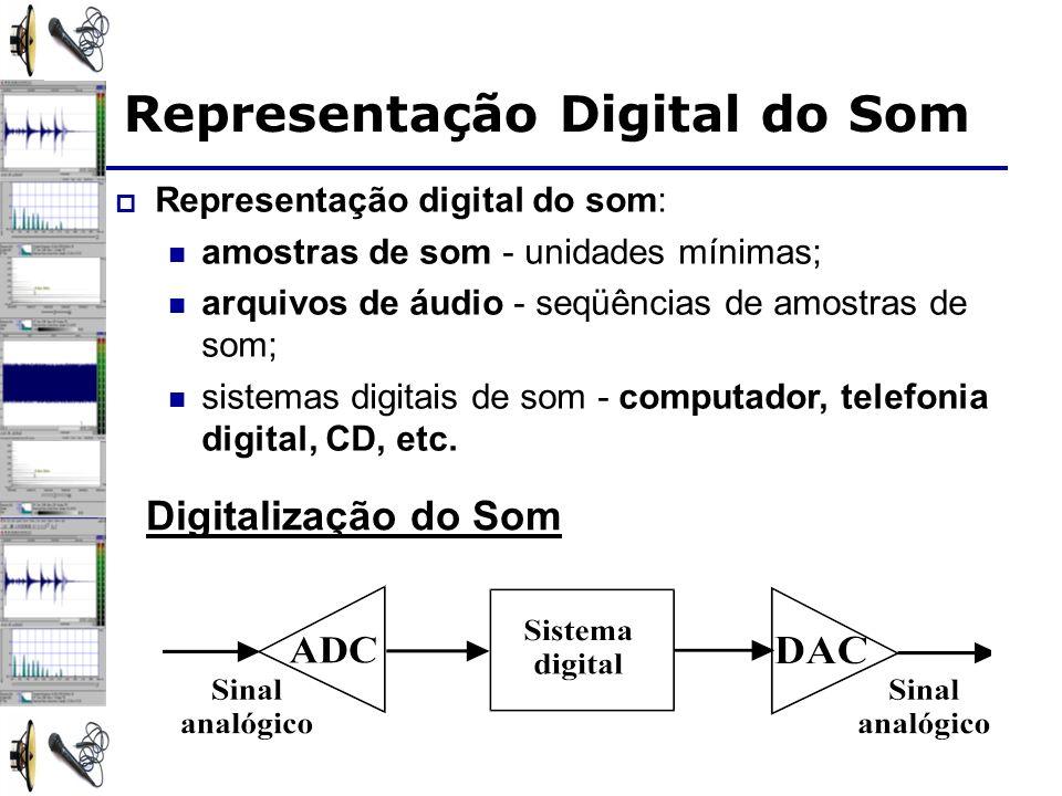 Representação Digital do Som Representação digital do som: amostras de som - unidades mínimas; arquivos de áudio - seqüências de amostras de som; sist