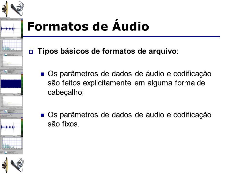 Formatos de Áudio Tipos básicos de formatos de arquivo: Os parâmetros de dados de áudio e codificação são feitos explicitamente em alguma forma de cab
