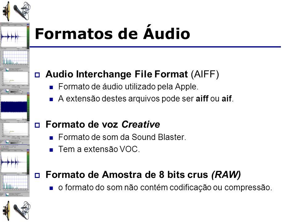 Audio Interchange File Format (AIFF) Formato de áudio utilizado pela Apple. A extensão destes arquivos pode ser aiff ou aif. Formato de voz Creative F