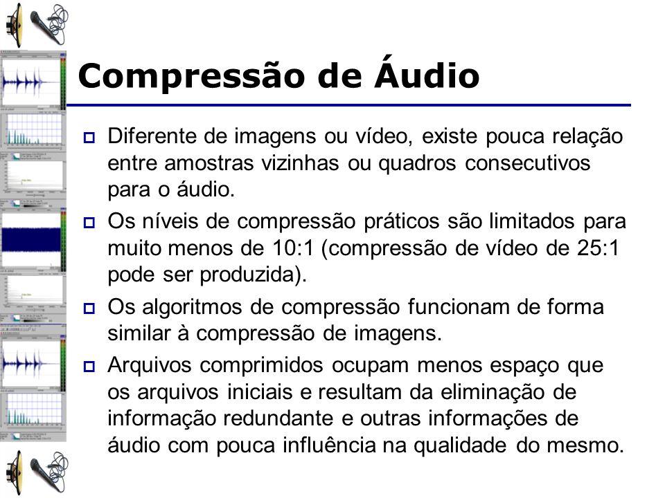 Compressão de Áudio Diferente de imagens ou vídeo, existe pouca relação entre amostras vizinhas ou quadros consecutivos para o áudio. Os níveis de com
