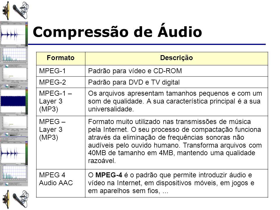 FormatoDescrição MPEG-1Padrão para vídeo e CD-ROM MPEG-2Padrão para DVD e TV digital MPEG-1 – Layer 3 (MP3) Os arquivos apresentam tamanhos pequenos e