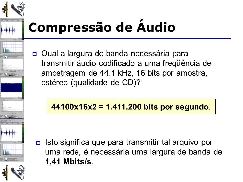 Qual a largura de banda necessária para transmitir áudio codificado a uma freqüência de amostragem de 44.1 kHz, 16 bits por amostra, estéreo (qualidad