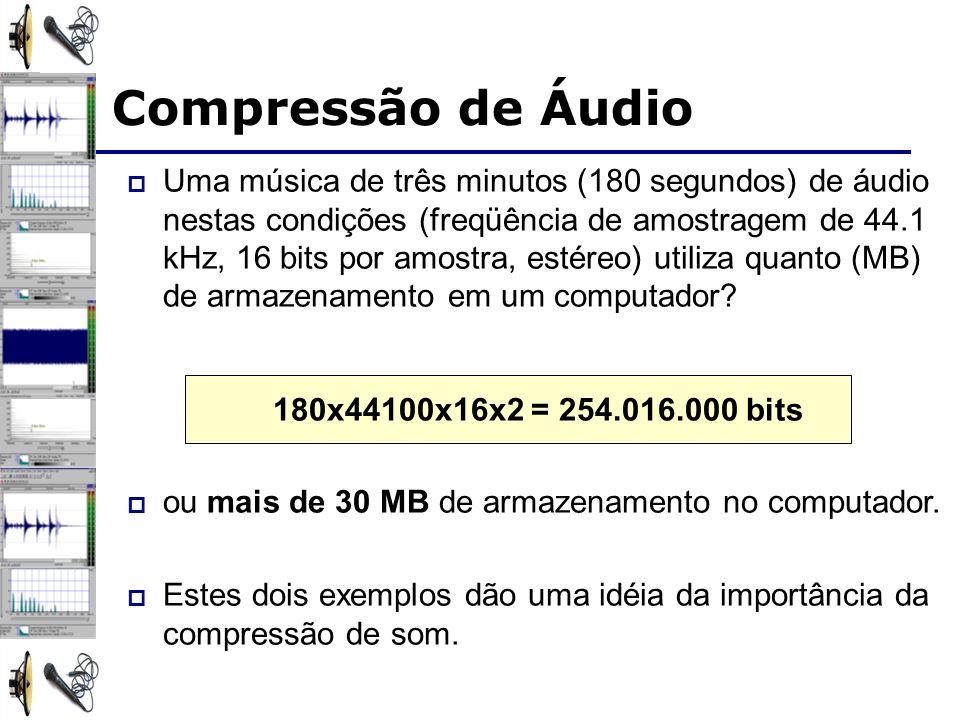Uma música de três minutos (180 segundos) de áudio nestas condições (freqüência de amostragem de 44.1 kHz, 16 bits por amostra, estéreo) utiliza quant
