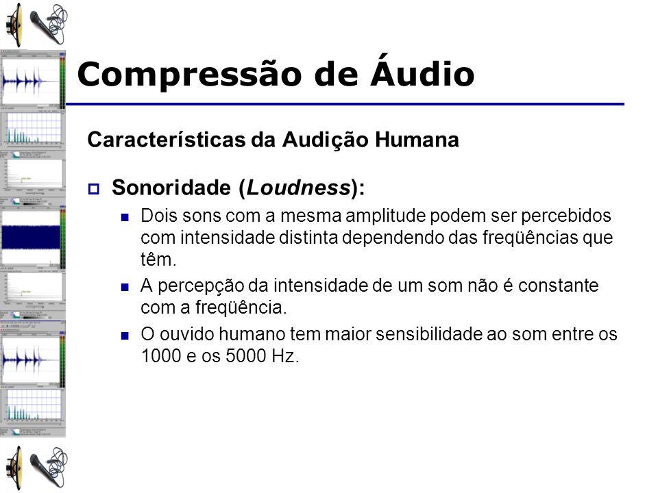 Características da Audição Humana Sonoridade (Loudness): Dois sons com a mesma amplitude podem ser percebidos com intensidade distinta dependendo das