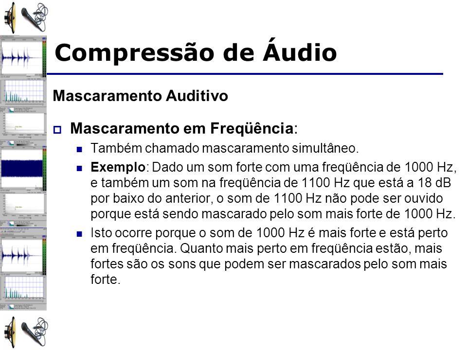 Mascaramento Auditivo Mascaramento em Freqüência: Também chamado mascaramento simultâneo. Exemplo: Dado um som forte com uma freqüência de 1000 Hz, e