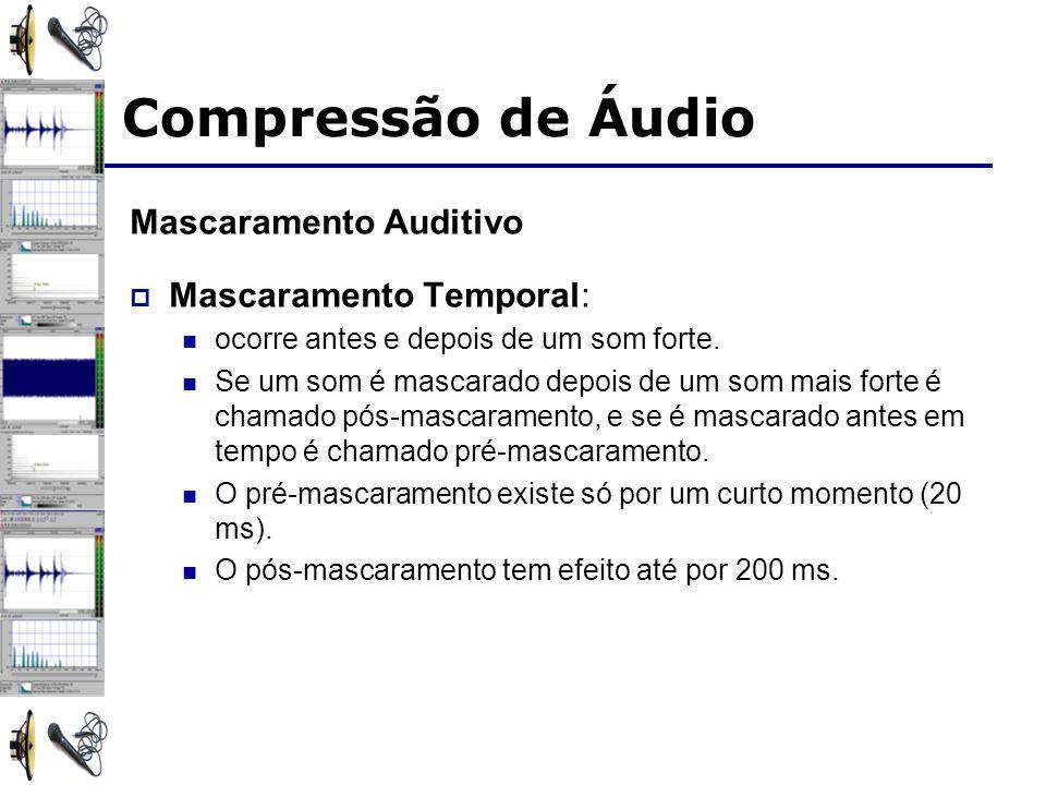 Mascaramento Auditivo Mascaramento Temporal: ocorre antes e depois de um som forte. Se um som é mascarado depois de um som mais forte é chamado pós-ma