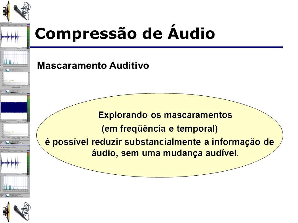 Mascaramento Auditivo Explorando os mascaramentos (em freqüência e temporal) é possível reduzir substancialmente a informação de áudio, sem uma mudanç