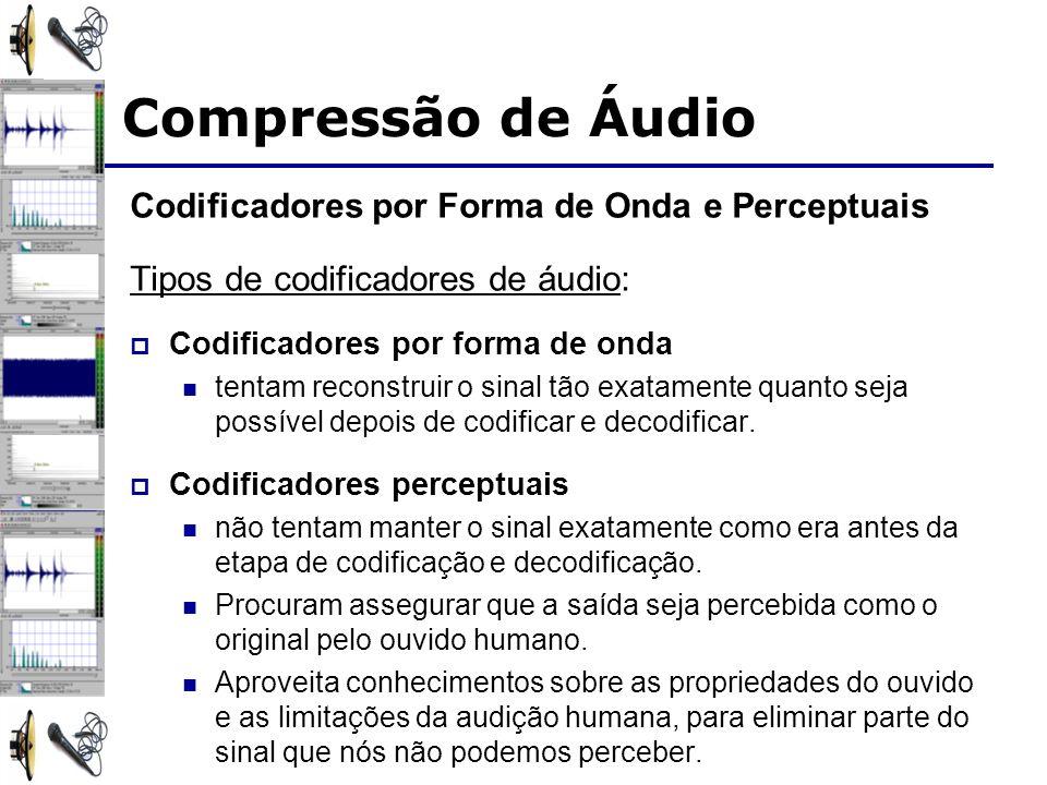 Codificadores por Forma de Onda e Perceptuais Tipos de codificadores de áudio: Codificadores por forma de onda tentam reconstruir o sinal tão exatamen