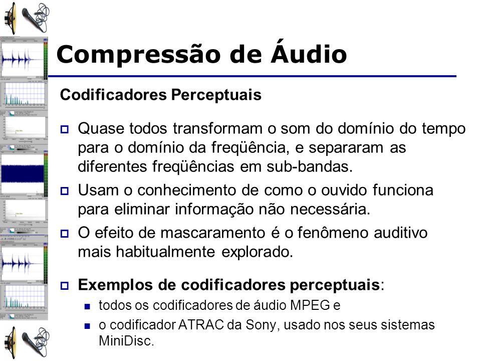 Codificadores Perceptuais Quase todos transformam o som do domínio do tempo para o domínio da freqüência, e separaram as diferentes freqüências em sub