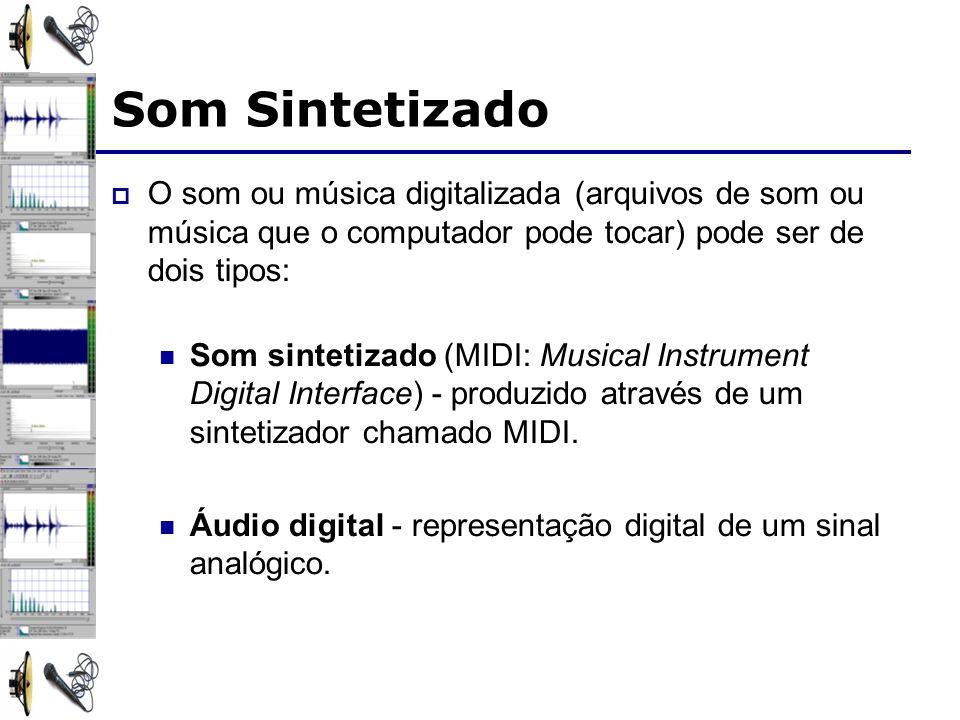 Som Sintetizado O som ou música digitalizada (arquivos de som ou música que o computador pode tocar) pode ser de dois tipos: Som sintetizado (MIDI: Mu