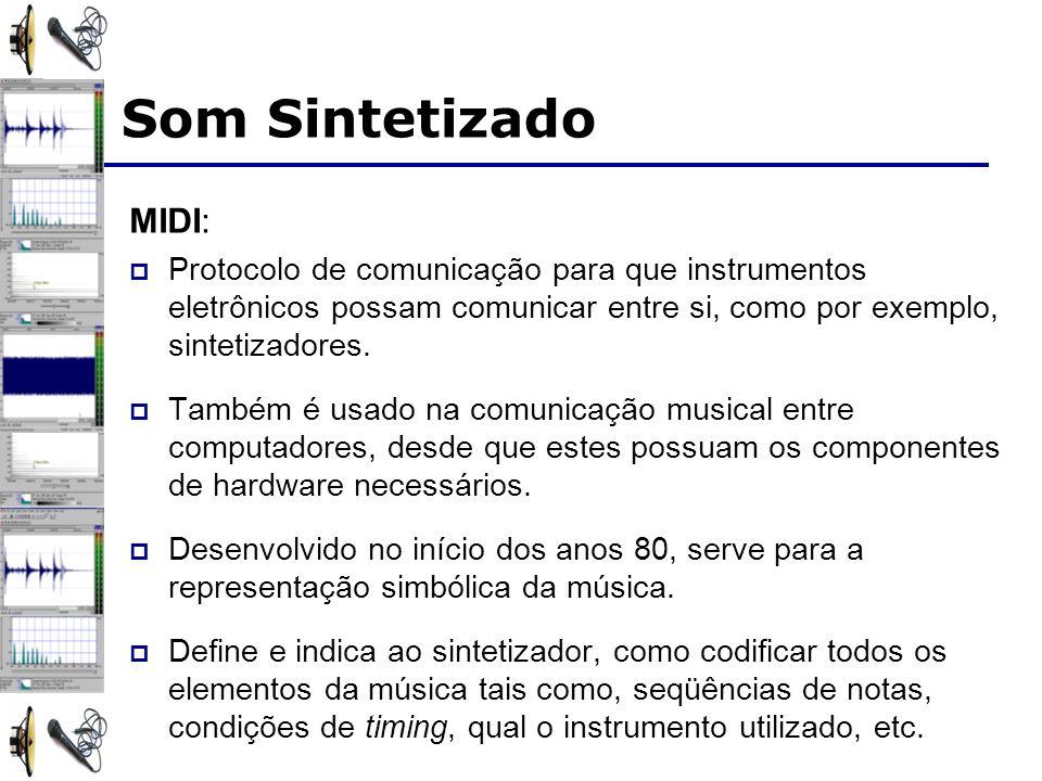 MIDI: Protocolo de comunicação para que instrumentos eletrônicos possam comunicar entre si, como por exemplo, sintetizadores. Também é usado na comuni