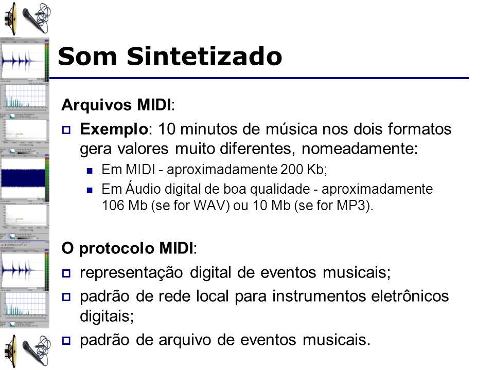 Arquivos MIDI: Exemplo: 10 minutos de música nos dois formatos gera valores muito diferentes, nomeadamente: Em MIDI - aproximadamente 200 Kb; Em Áudio