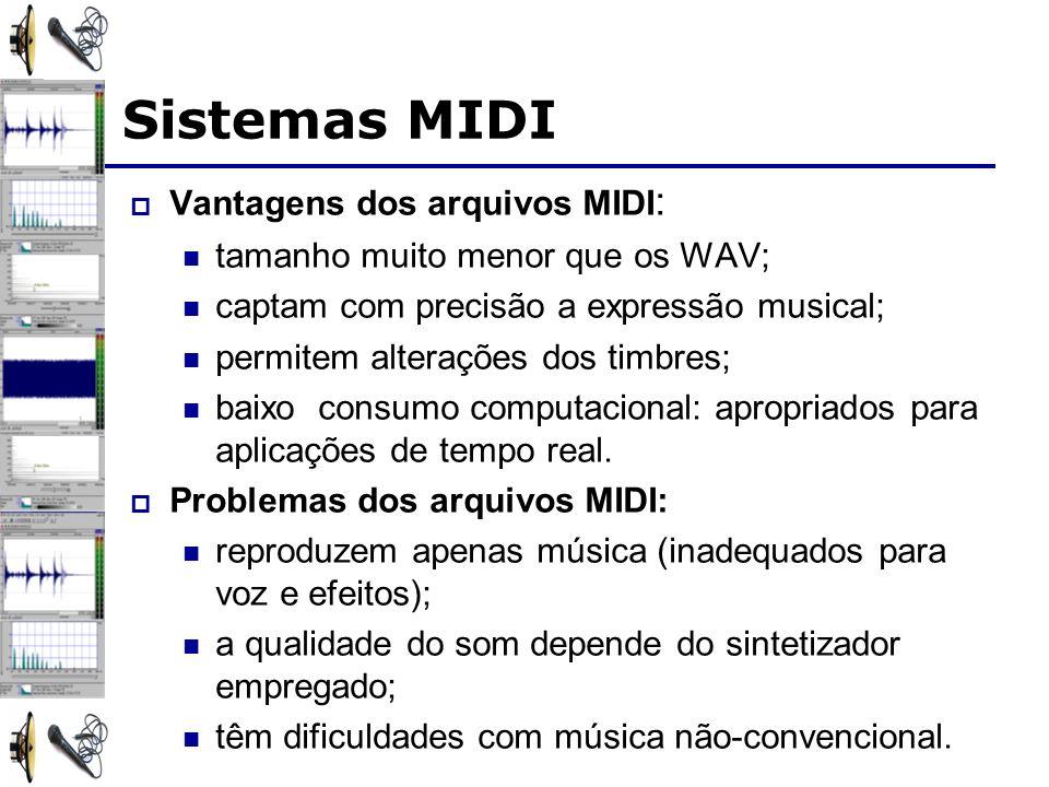 Sistemas MIDI Vantagens dos arquivos MIDI : tamanho muito menor que os WAV; captam com precisão a expressão musical; permitem alterações dos timbres;