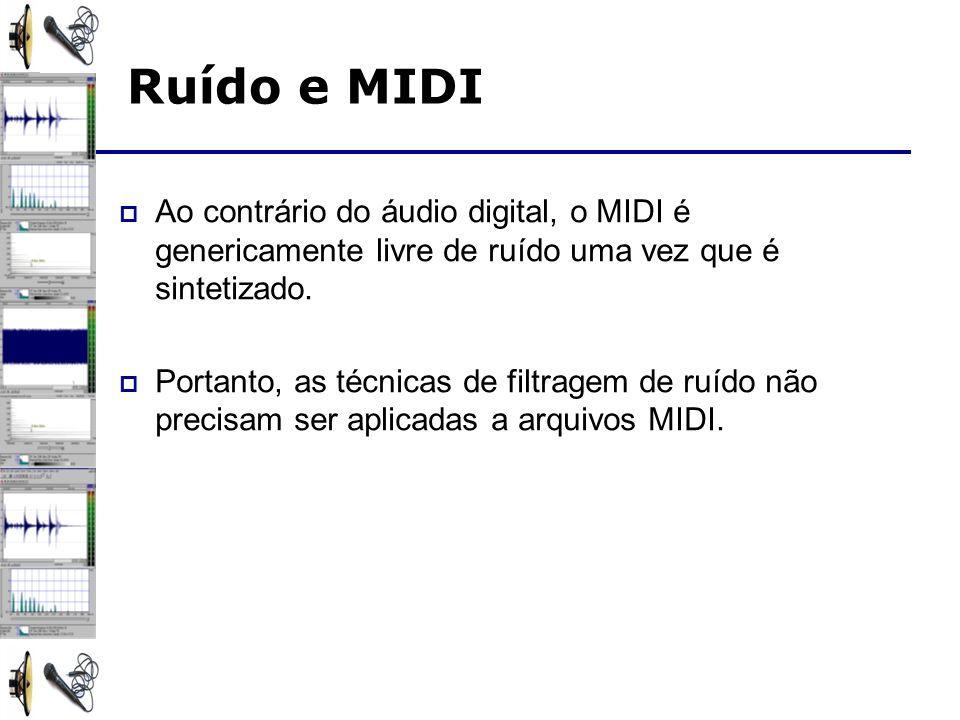 Ao contrário do áudio digital, o MIDI é genericamente livre de ruído uma vez que é sintetizado. Portanto, as técnicas de filtragem de ruído não precis