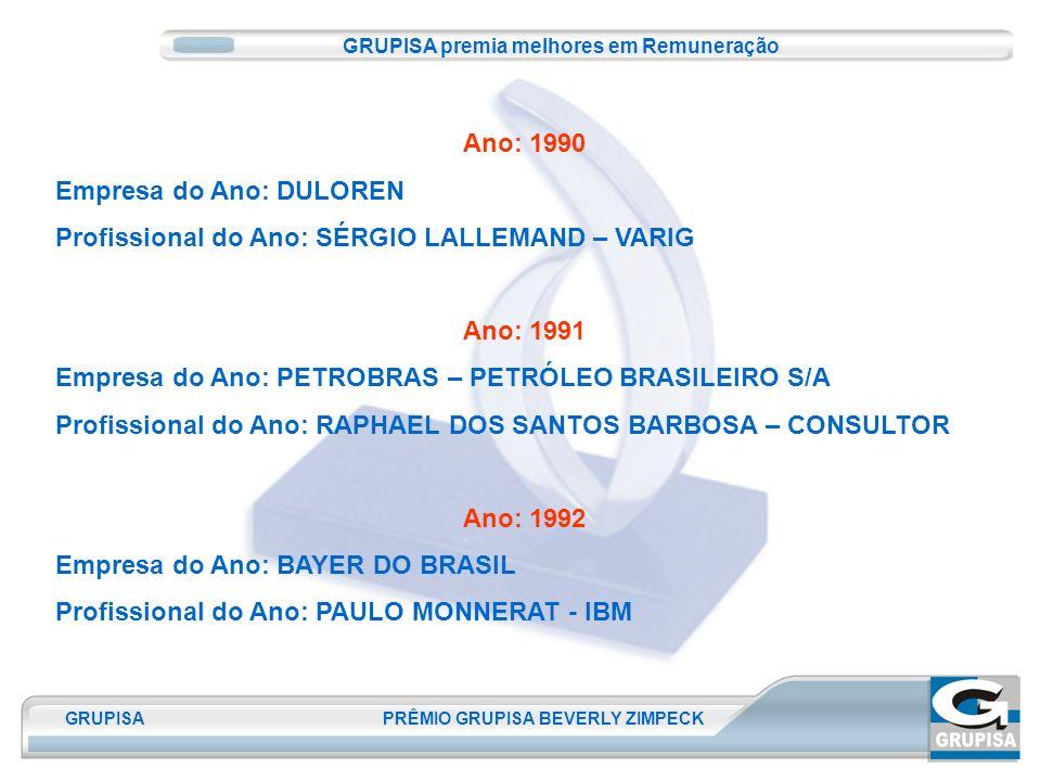 GRUPISA PRÊMIO GRUPISA BEVERLY ZIMPECK Ano: 1990 Empresa do Ano: DULOREN Profissional do Ano: SÉRGIO LALLEMAND – VARIG Ano: 1991 Empresa do Ano: PETROBRAS – PETRÓLEO BRASILEIRO S/A Profissional do Ano: RAPHAEL DOS SANTOS BARBOSA – CONSULTOR Ano: 1992 Empresa do Ano: BAYER DO BRASIL Profissional do Ano: PAULO MONNERAT - IBM GRUPISA premia melhores em Remuneração