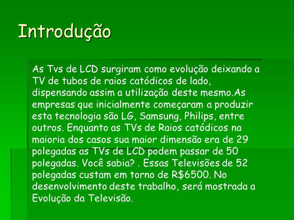Introdução As Tvs de LCD surgiram como evolução deixando a TV de tubos de raios catódicos de lado, dispensando assim a utilização deste mesmo.As empresas que inicialmente começaram a produzir esta tecnologia são LG, Samsung, Philips, entre outros.