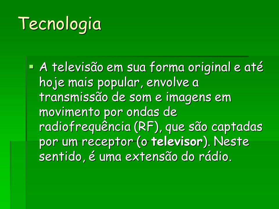 Tecnologia A televisão em sua forma original e até hoje mais popular, envolve a transmissão de som e imagens em movimento por ondas de radiofrequência (RF), que são captadas por um receptor (o televisor).