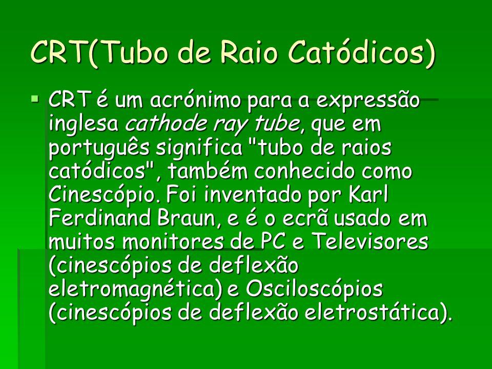 CRT(Tubo de Raio Catódicos) CRT é um acrónimo para a expressão inglesa cathode ray tube, que em português significa tubo de raios catódicos , também conhecido como Cinescópio.