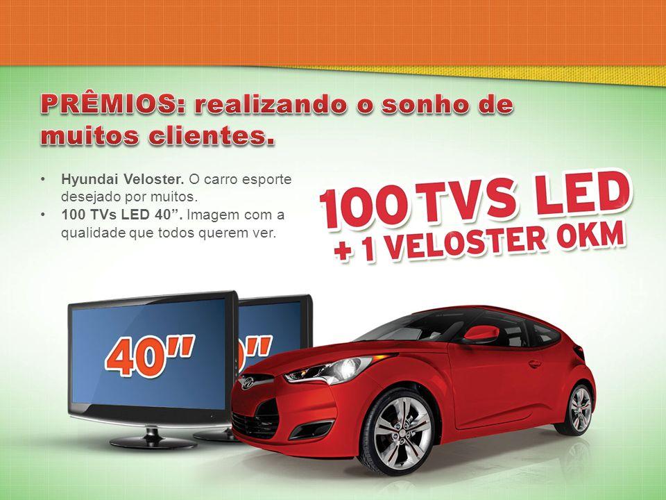 Hyundai Veloster. O carro esporte desejado por muitos. 100 TVs LED 40. Imagem com a qualidade que todos querem ver.