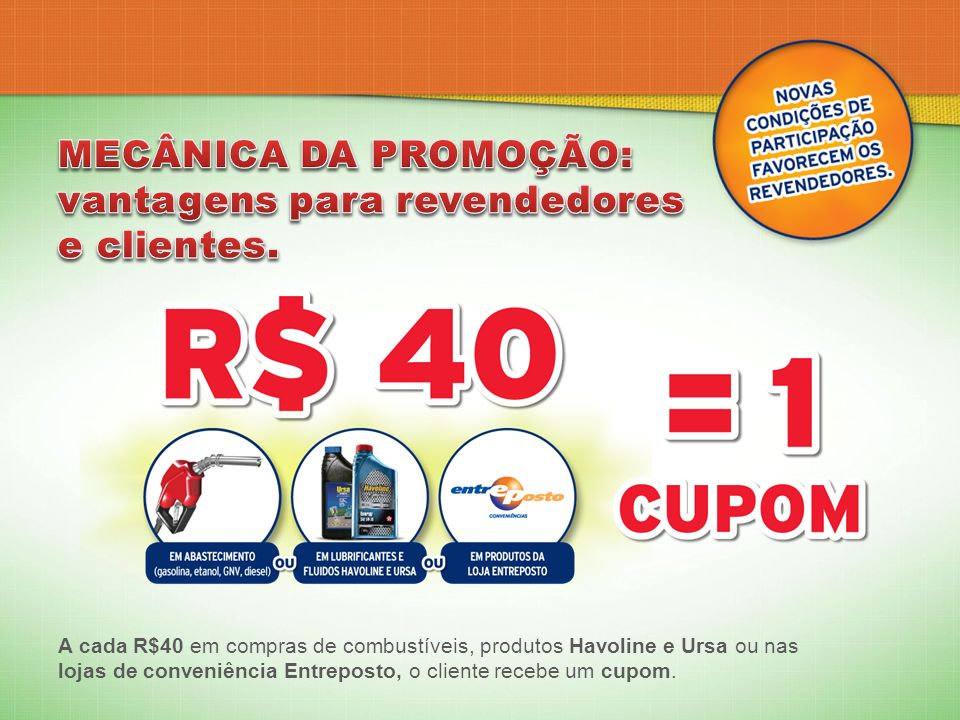 A cada R$40 em compras de combustíveis, produtos Havoline e Ursa ou nas lojas de conveniência Entreposto, o cliente recebe um cupom.