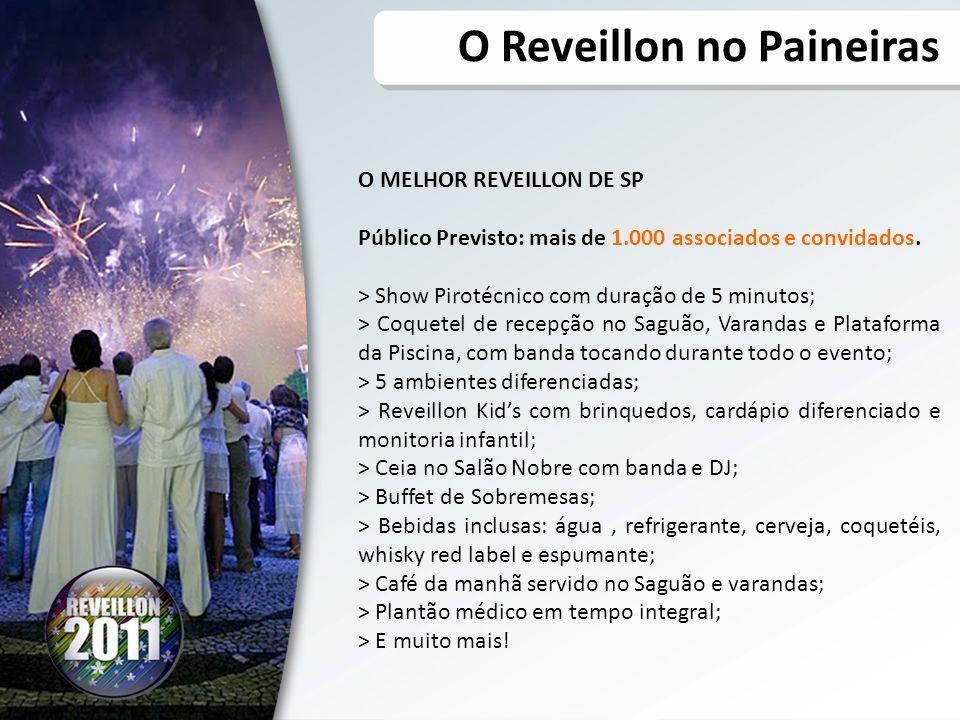 O MELHOR REVEILLON DE SP Público Previsto: mais de 1.000 associados e convidados. > Show Pirotécnico com duração de 5 minutos; > Coquetel de recepção