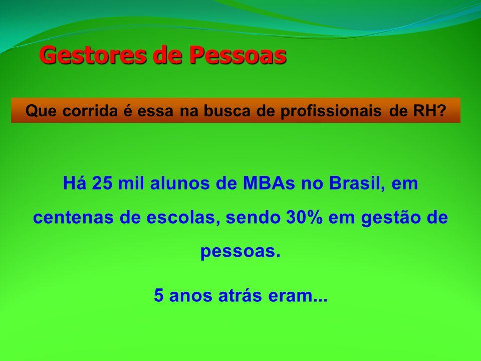 Que corrida é essa na busca de profissionais de RH? Há 25 mil alunos de MBAs no Brasil, em centenas de escolas, sendo 30% em gestão de pessoas. 5 anos