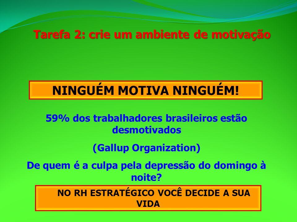 Tarefa 2: crie um ambiente de motivação NINGUÉM MOTIVA NINGUÉM! 59% dos trabalhadores brasileiros estão desmotivados (Gallup Organization) De quem é a