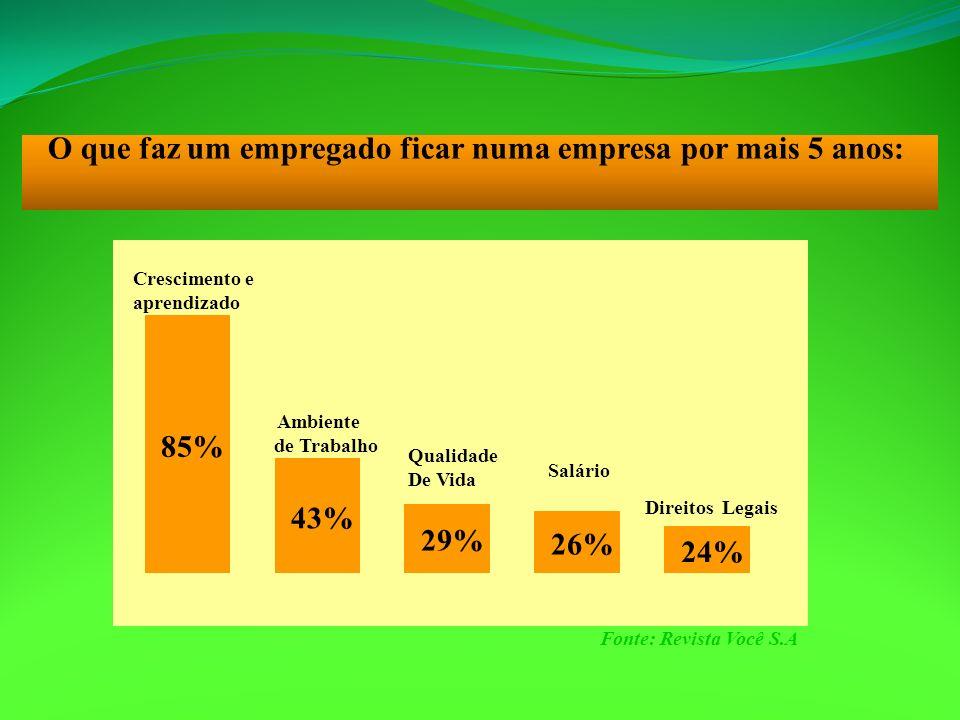 O que faz um empregado ficar numa empresa por mais 5 anos: 85% Crescimento e aprendizado 43% 29% 26% 24% Ambiente de Trabalho Qualidade De Vida Salári
