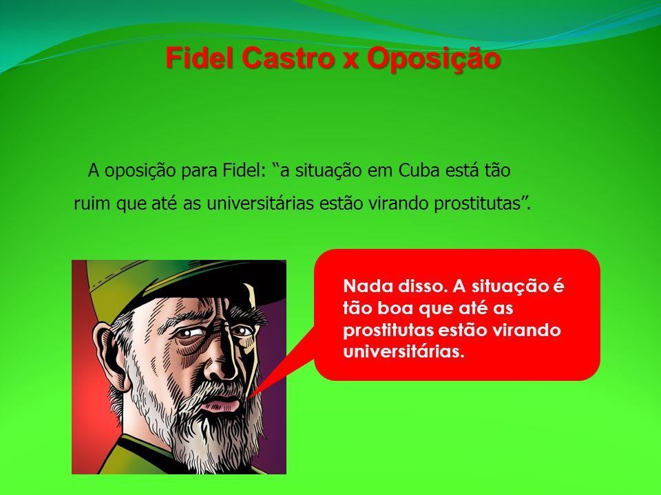 A oposição para Fidel: a situação em Cuba está tão ruim que até as universitárias estão virando prostitutas. Nada disso. A situação é tão boa que até
