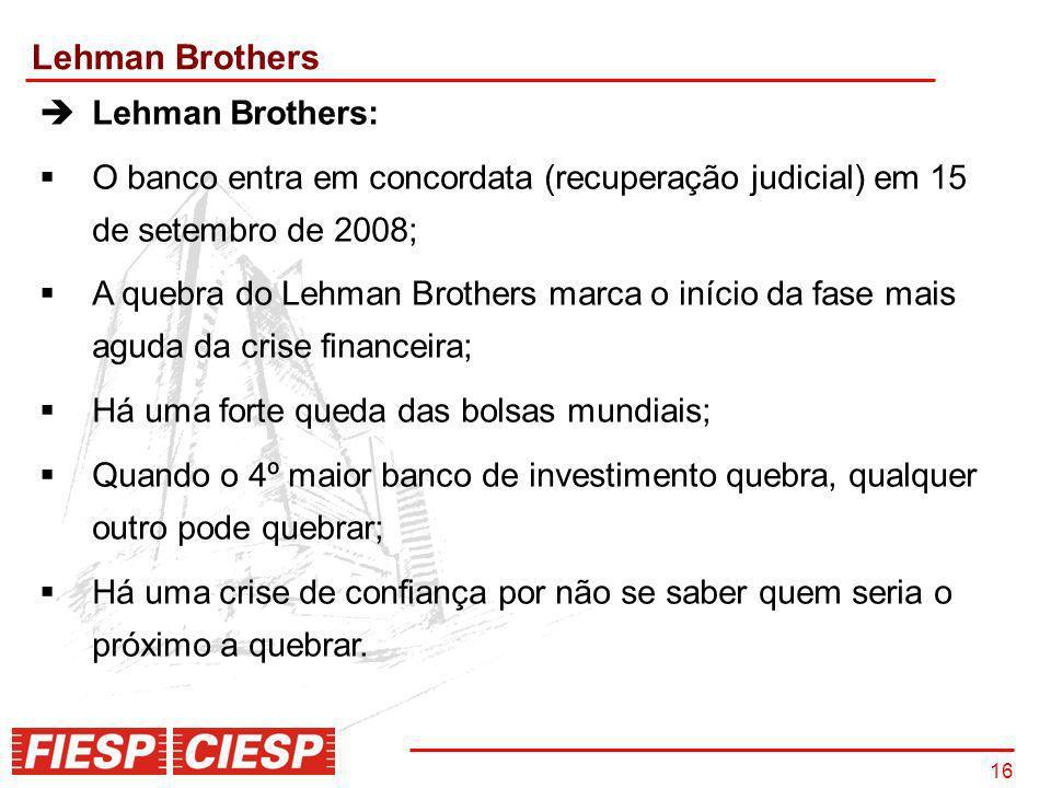 16 Lehman Brothers Lehman Brothers: O banco entra em concordata (recuperação judicial) em 15 de setembro de 2008; A quebra do Lehman Brothers marca o