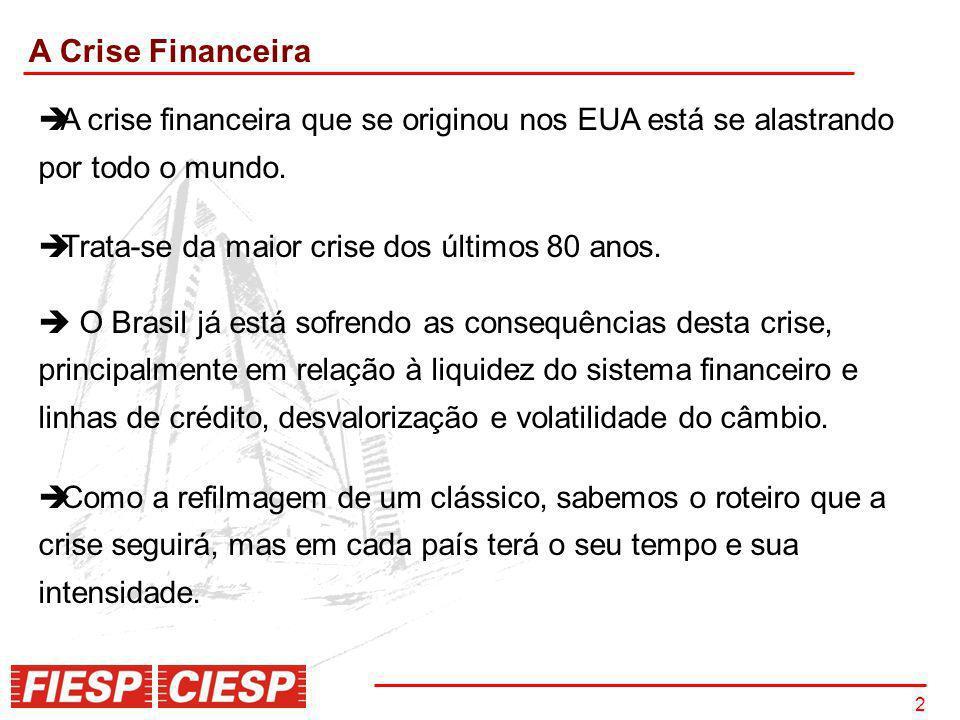 2 2 A Crise Financeira A crise financeira que se originou nos EUA está se alastrando por todo o mundo. Trata-se da maior crise dos últimos 80 anos. O