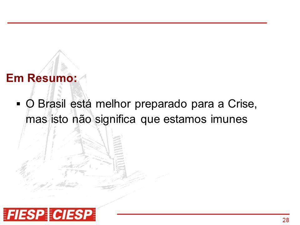 28 Em Resumo: O Brasil está melhor preparado para a Crise, mas isto não significa que estamos imunes