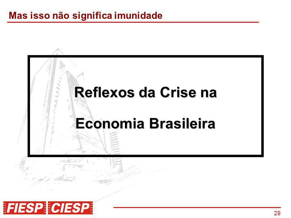 29 Reflexos da Crise na Economia Brasileira Mas isso não significa imunidade