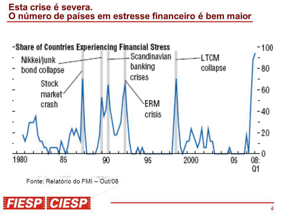4 Esta crise é severa. O número de países em estresse financeiro é bem maior Fonte: Relatório do FMI – Out/08