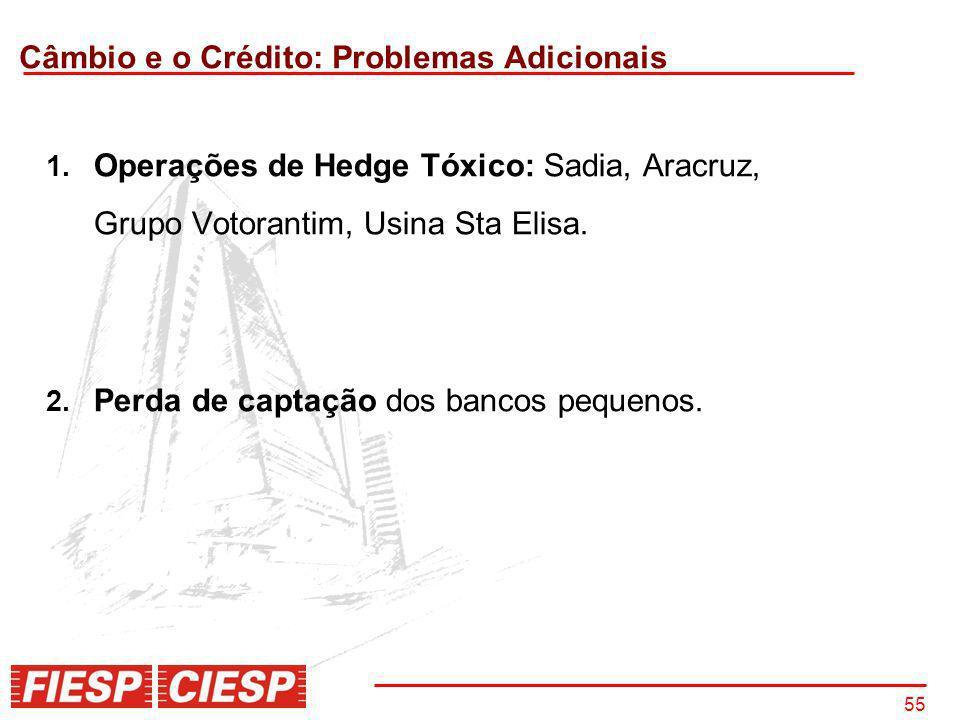 55 Câmbio e o Crédito: Problemas Adicionais 1. Operações de Hedge Tóxico: Sadia, Aracruz, Grupo Votorantim, Usina Sta Elisa. 2. Perda de captação dos