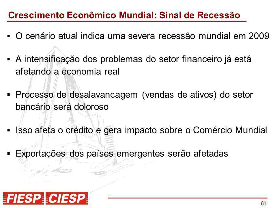 61 O cenário atual indica uma severa recessão mundial em 2009 A intensificação dos problemas do setor financeiro já está afetando a economia real Proc