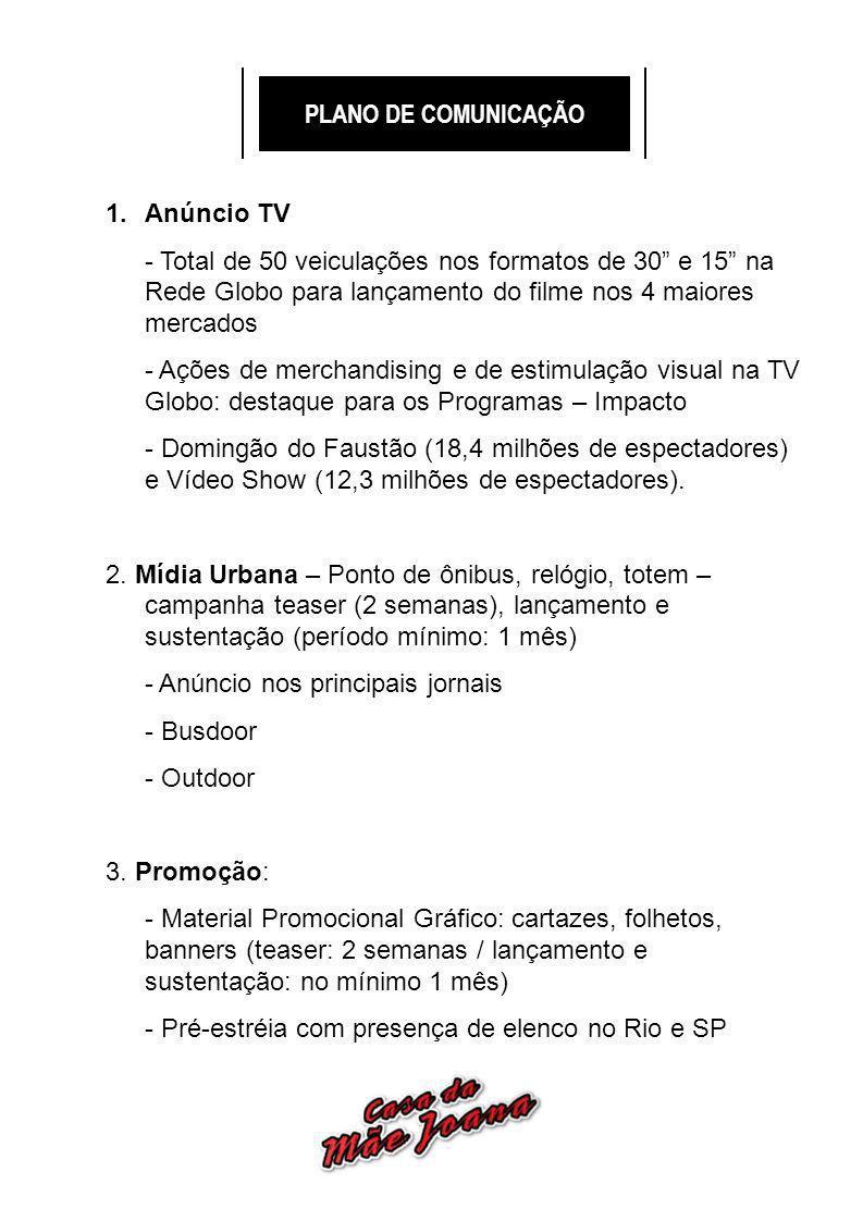 PLANO DE COMUNICAÇÃO 1.Anúncio TV - Total de 50 veiculações nos formatos de 30 e 15 na Rede Globo para lançamento do filme nos 4 maiores mercados - Ações de merchandising e de estimulação visual na TV Globo: destaque para os Programas – Impacto - Domingão do Faustão (18,4 milhões de espectadores) e Vídeo Show (12,3 milhões de espectadores).