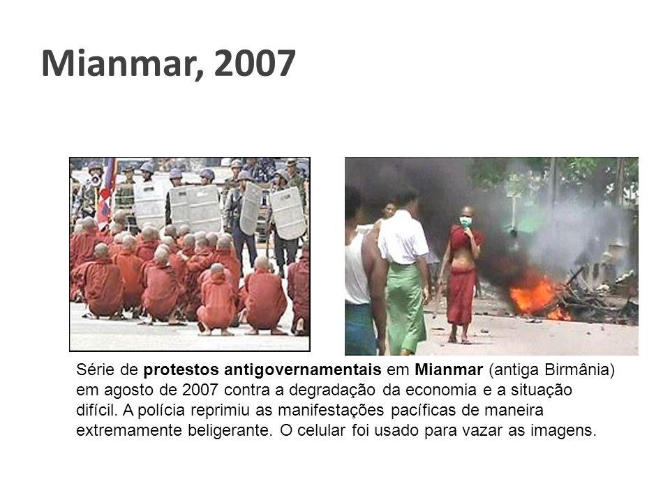 Mianmar, 2007 Série de protestos antigovernamentais em Mianmar (antiga Birmânia) em agosto de 2007 contra a degradação da economia e a situação difíci