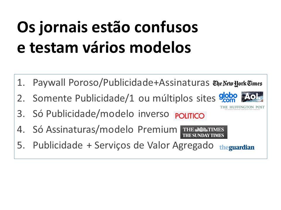 Os jornais estão confusos e testam vários modelos 1.Paywall Poroso/Publicidade+Assinaturas 2.Somente Publicidade/1 ou múltiplos sites 3.Só Publicidade
