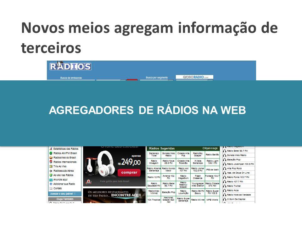 Novos meios agregam informação de terceiros AGREGADORES DE RÁDIOS NA WEB