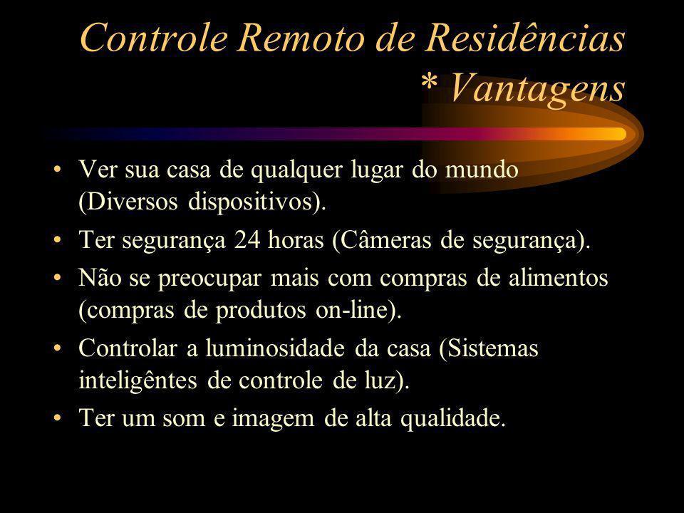 Controle Remoto de Residências * Vantagens Ver sua casa de qualquer lugar do mundo (Diversos dispositivos). Ter segurança 24 horas (Câmeras de seguran