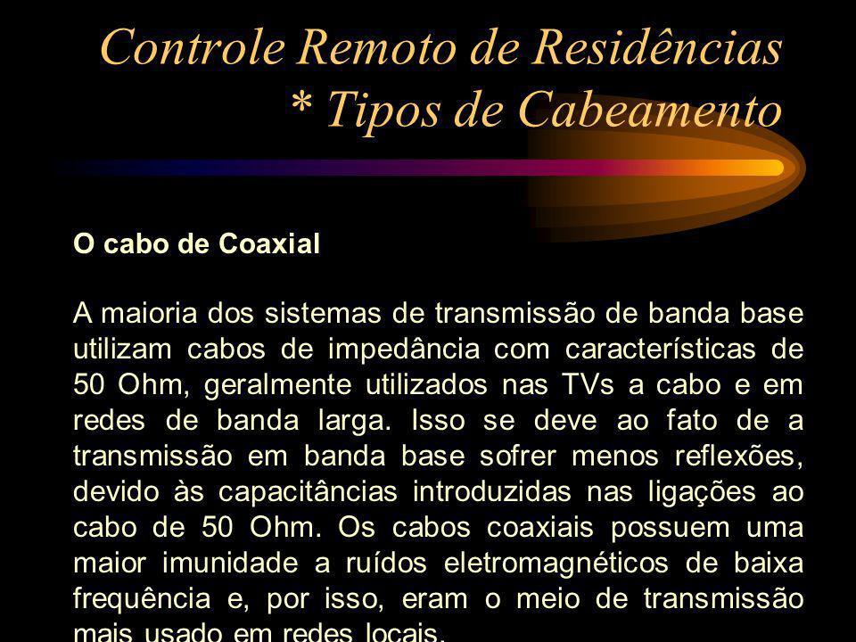 Controle Remoto de Residências * Tipos de Cabeamento O cabo de Coaxial A maioria dos sistemas de transmissão de banda base utilizam cabos de impedânci