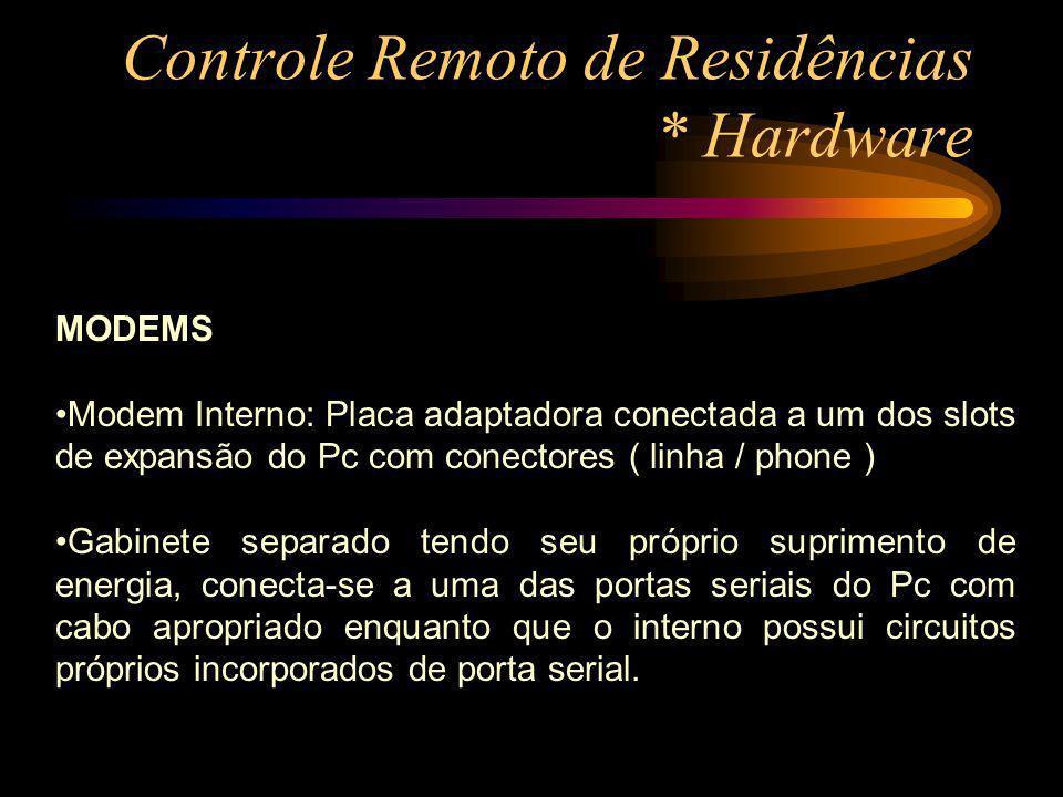 Controle Remoto de Residências * Hardware MODEMS Modem Interno: Placa adaptadora conectada a um dos slots de expansão do Pc com conectores ( linha / p
