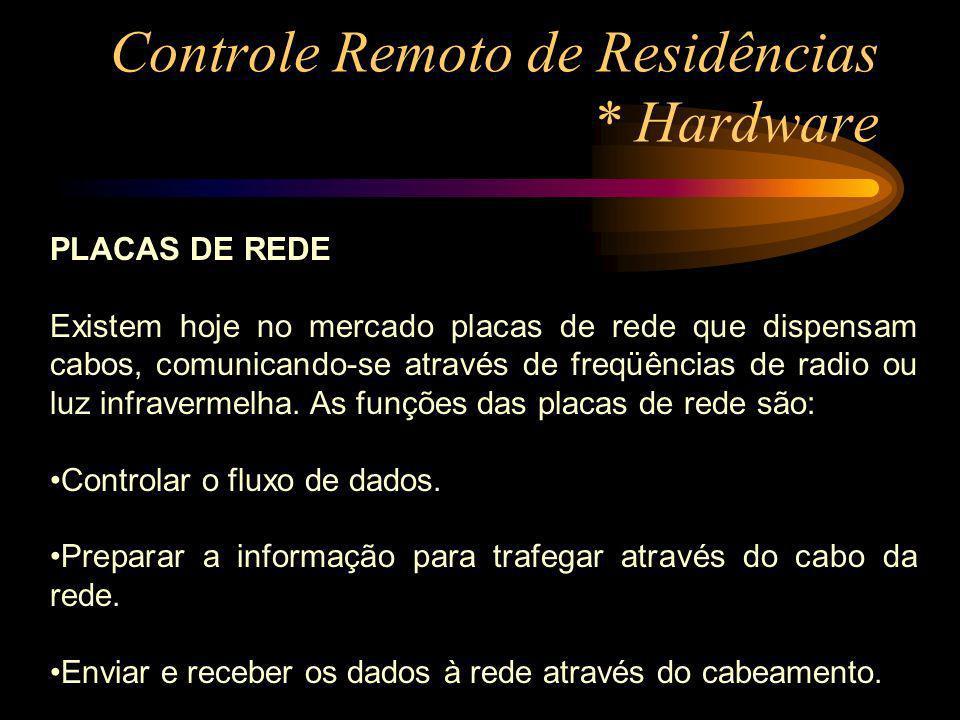 Controle Remoto de Residências * Hardware PLACAS DE REDE Existem hoje no mercado placas de rede que dispensam cabos, comunicando-se através de freqüên