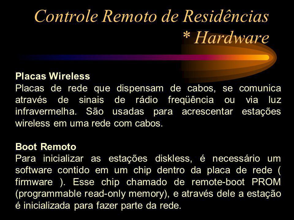 Controle Remoto de Residências * Hardware Placas Wireless Placas de rede que dispensam de cabos, se comunica através de sinais de rádio freqüência ou