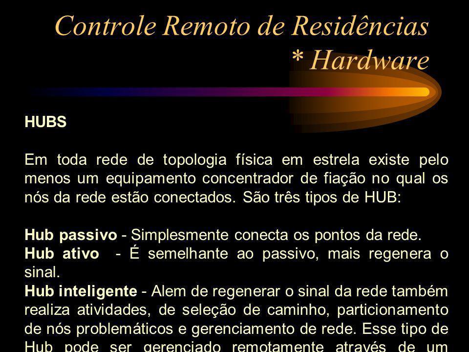 Controle Remoto de Residências * Hardware HUBS Em toda rede de topologia física em estrela existe pelo menos um equipamento concentrador de fiação no