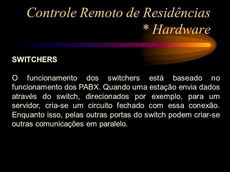 Controle Remoto de Residências * Hardware SWITCHERS O funcionamento dos switchers está baseado no funcionamento dos PABX. Quando uma estação envia dad