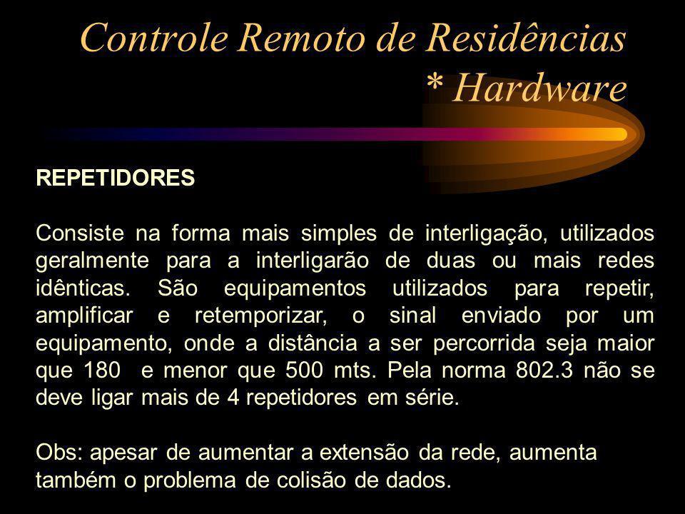 Controle Remoto de Residências * Hardware REPETIDORES Consiste na forma mais simples de interligação, utilizados geralmente para a interligarão de dua
