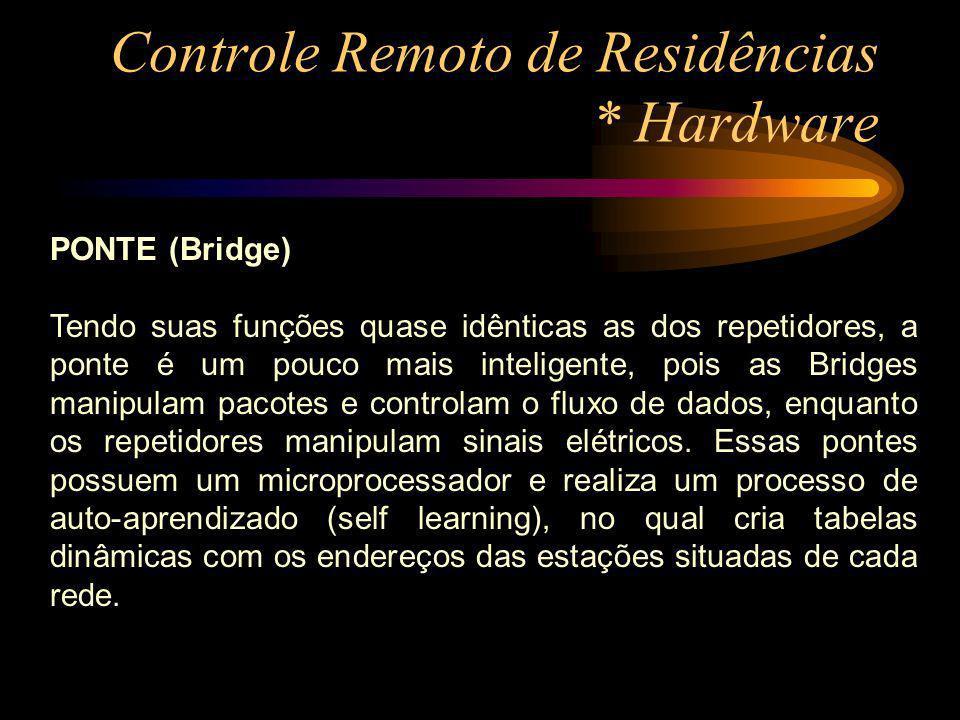 Controle Remoto de Residências * Hardware PONTE (Bridge) Tendo suas funções quase idênticas as dos repetidores, a ponte é um pouco mais inteligente, p