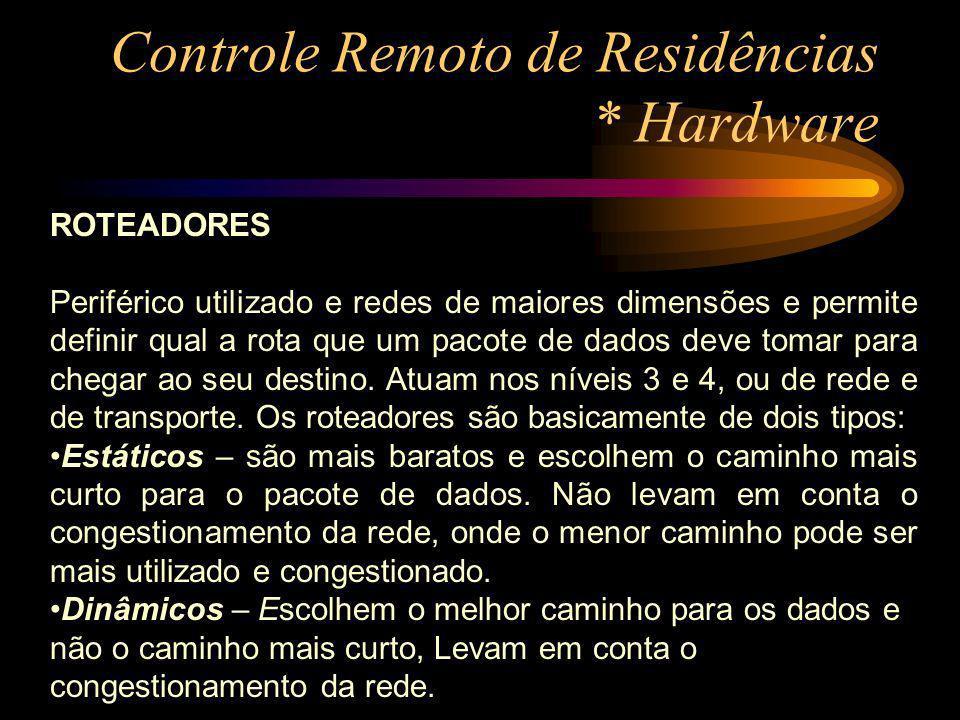 Controle Remoto de Residências * Hardware ROTEADORES Periférico utilizado e redes de maiores dimensões e permite definir qual a rota que um pacote de